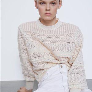 Zara embroidered knit sweater